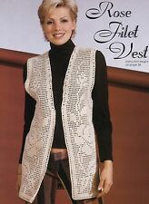 LOVELY Rose Filet Vest/Apparel/ Crochet Pattern INSTRUCTIONS ONLY