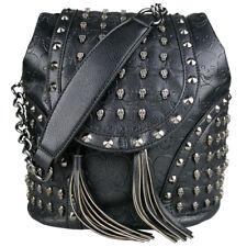 Ladies Girls Skull Studded Shoulder School Travel Bag Backpack PU Leather