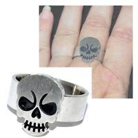 Bague anneau homme original acier inoxydable tête de mort T 62 et 64 bijou ring