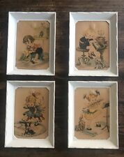 "Set Of 4 Vintage Prints Framed Kids Playing Musical Instruments 3.5""x5"""