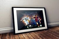 Cristiano Ronaldo VS Lionel Messi Dual Autographed Poster Print. A3 A2 A1 Sizes