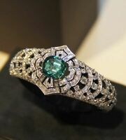 Lady Huge Emerald 925 Silver Ring Women Wedding Engagement Jewelry Size 5-10