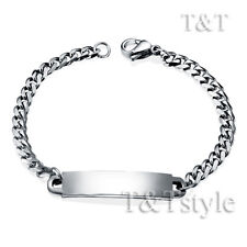 T&T 3.5mm Stainless Steel Curb Chain ID Bracelet For Children 14cm (BBR153S)