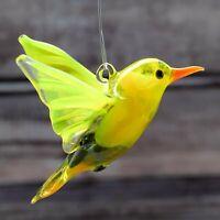 "Glass Bird Animal Figurine, Handmade Hand Blown Art Glass Figure, Pendant 3"""