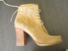 frye suede distressed lace up boots stacked heel 8.5 $475 worn 1 time