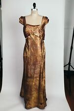Rare Antique 1910s 1920s Paisley Gold and Pink Lamè Evening Gown Dress