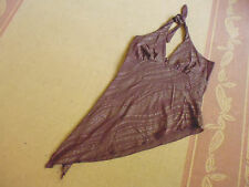 LADIES BROWN METALLIC STRIPED HALTER STYLE SHEER TOP BY SUPRE SIZE L 10/12 cheap