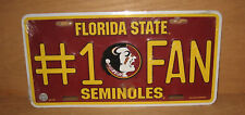 Florida State Seminoles #1 Fan License Plate NCCA College Football New !!
