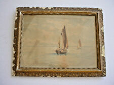 Antique Watercolor of Fishermen on Water Boating Scene Signed F. Martin