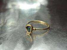 14k yellow gold ring with Green Trillion Tourmaline.Handmade very UNIQUE ring