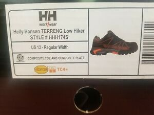 Helly Hansen Terreng Low Men's sz 12 Black/Orange Work Shoe FHHH174S
