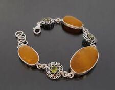 Handgefertigte Peridot Echtschmuck-Armbänder aus Sterlingsilber