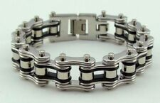 Mens Stainless Steel W Rollers Motorcycle Biker Chain Bracelet Silver/Black