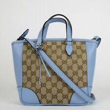 a33ef51e809 Gucci Brown Blue GG Canvas Small Tote Crossbody Bag w blue Trim 449241 9800