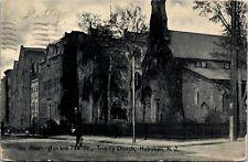 Postcard NJ Hoboken Washington and 7th St. Trinity Church 1907 M30