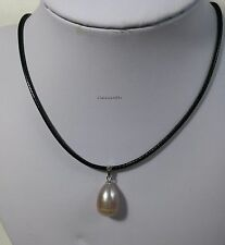 Silver11-12mm Purple freshwater pearl pendant+bLk wax rope necklace L40/45cm