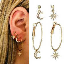 4pcs/set Bohemian Large Circle Earrings Ear Clip Crystal Moon Star Stud Jewelry