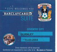 Ticket - Coventry City v Burnley 13.03.04