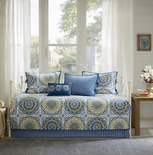 Daybed Bedding Sets Cover Girls Teens Twin Quilted Day Bed Blue Medallion 6 PC