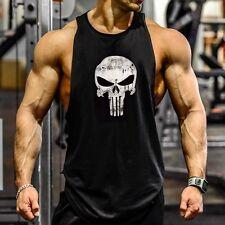 Gym HOMBRES Punisher CAMISA SIN MANGAS camiseta de tirantes CULTURISMO DEPORTE