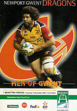 Newport Gwent Dragons V BENETTON TREVISO-EUROPEAN CUP 15 DICEMBRE 2007 Rugby PROG