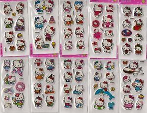 10 sheets of stickers girl boy party loot bags fillers Princess Spiderman Kitty