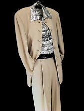 ISDA & Co sz 10 Pant Suit wool blend Taupe Career Church Inseam 31