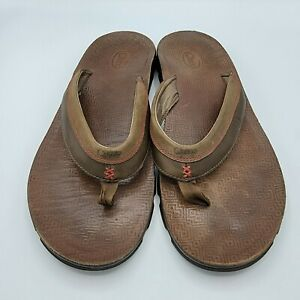 Chaco Mens Flip Flops US 13 Brown Leather Thong Casual Sandals Slides Beach