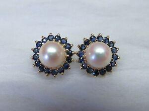 14K Gold Pearl w/ Blue Sapphire satellite Earrings