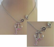 Mermaid Necklace Pendant Anchor Jewelry Handmade New Chain Fashion Silver