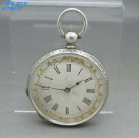ANTIQUE ORNATE SWISS SOLID SILVER KEY WIND CYLINDER POCKET FOB WATCH 39mm c1890