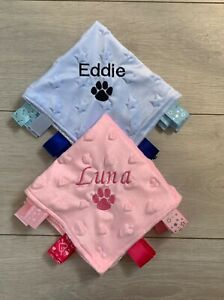 PERSONALISED DOG PUPPY BLANKET TAGGY KITTEN CAT EMBROIDERED BED COMFORTER GIFT