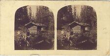 Un chalet dans la val de verghen ? Suisse STEREO D.X. Vintage albumine ca 1860