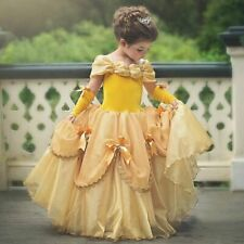Girls Belle Princess Dress Cosplay Costume Party Clothes Children Long Gown