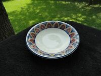 Pier 1 Gold Red Arches Green Leaves Blue Rim White Rimmed Soup Bowl