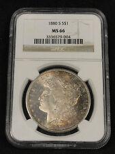 1880 S MORGAN SILVER DOLLAR! TONED BEAUTY! RARE KEY GRADE! NGC MS 66! #PK9004
