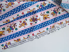Cinnamon Street Cat Cats Blue Pink Cotton Fabric Quilting Sewing Craft 1 Yd
