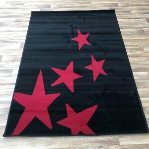 Quality star black red bedroom lounge Rug 120cm x 170cm  (633)