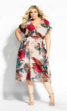 NEW City Chic Exotic Palm Multi-Coloured Floral Midi Dress Size XS S M L XL