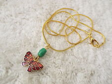 Goldtone Cloisonne Butterfly Pendant Necklace  (A3)