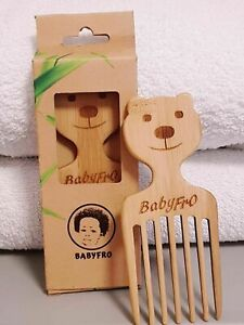 Natural Authentic Eco-Friendly  Bamboo Wooden  Wide Tooth Baby/Child Afro Comb