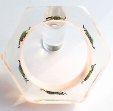 Soft pink designer lucite bangle with real insects by Kolos Designs
