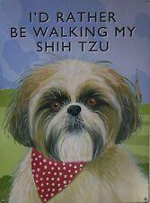 Walking Shih Tzu Metal Sign