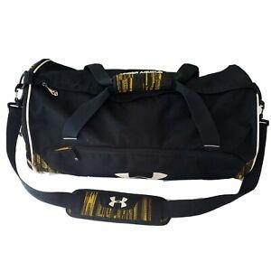 Under Armour Gym Sports Bag Duffle All Black Yellow Athletic Gear