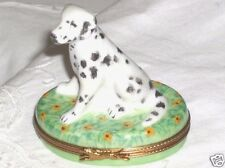 Pierre Arquie Hand Painted Dalmatian Dog Sitting on Daisies Limoges Trinket Box