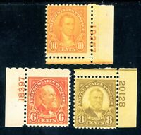 USAstamps Unused VF-XF US Rotary Issue Plate # Singles Sctt 638, 640, 642 OG MNH