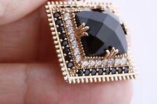 Turkish Jewelry Square Black Onyx Black&White Topaz 925 Sterling Silver Pendant