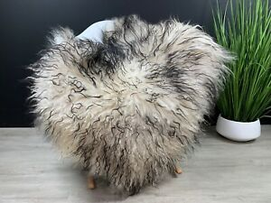 Icelandic Mouflon Black White Sheepskin Rug Pelt Genuine Natural Soft Best Seat