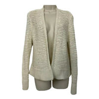 Eileen Fisher S Cardigan Sweater Beige Long Sleeve Open Front Loose Weave Small