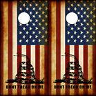 Cornhole Board Wraps Rustic American Flag Dont Tread on Me Gadsden Snake Tread